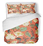 Emvency 3 Piece Duvet Cover Set Breathable Brushed Microfiber Fabric French Colorful Floral Flowers Ethnic Old Oriental Able Asian Beauty Botanical Bedding Set with 2 Pillow Covers Full/Queen Size