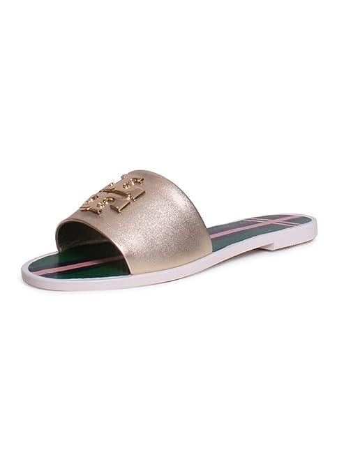 0a4645c853fdca Tory Burch Logo Metallic Jelly Slide Sandals