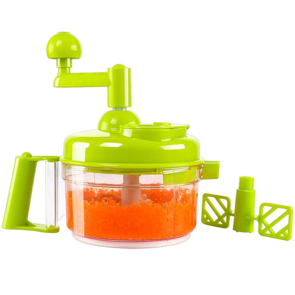 KEOUKE Hand Crank Food Processor – Manual Food Chopper Blender Mixer Cutter Meat Grinder for Vegetables, Fruits, Salad with a Egg Separator