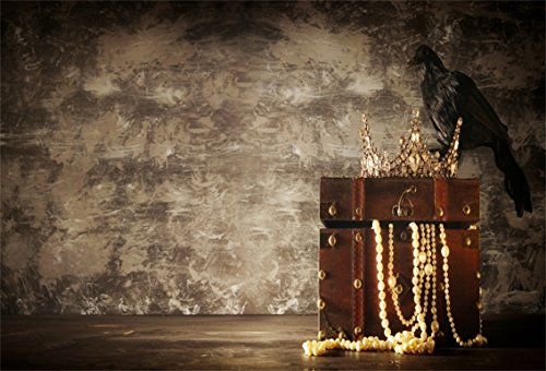 CSFOTO 6x4ft Background for Old Wooden Treasure Photography Backdrop Adventure Fantasy Medieval Period Gem Jewellery Grunge Room Vintage Chest Treasure Box Photo Studio Props Polyester Wallpaper