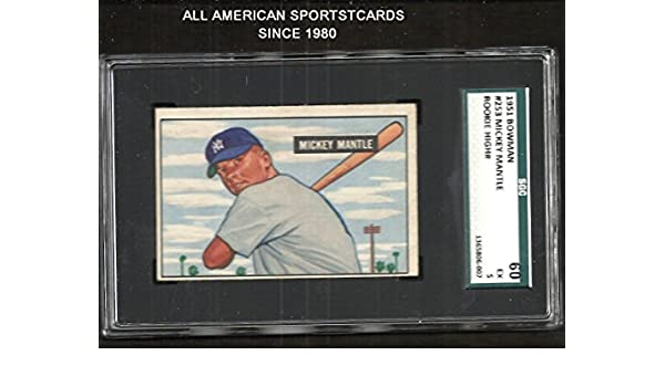 Amazoncom 1951 Bowman Mickey Mantle Rookie High 253 Sgc