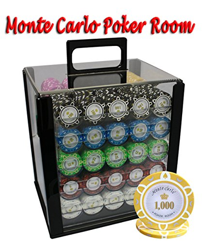 1000pcs 14g Monte Carlo Poker Room Poker Chips Set with Acrylic Case Custom Build by MRC