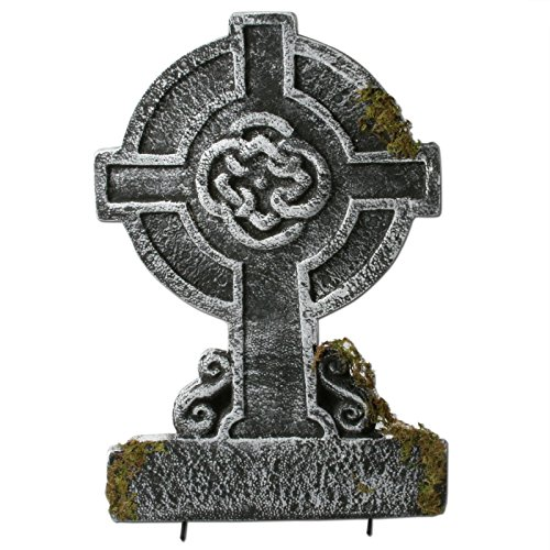 Mossy Celtic Cross Tombstone ()