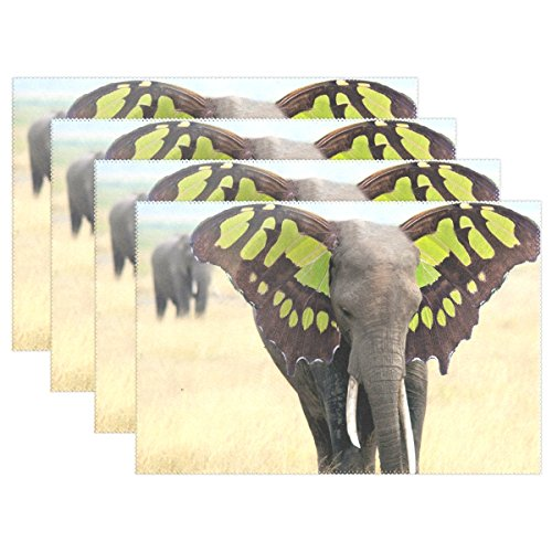 WIHVE Placemats Wipeable Dining Elephant Butterfly Wing Table Mat Rectangle Polyester Washable Insulation Non-slip Kitchen Placemat Set of 1