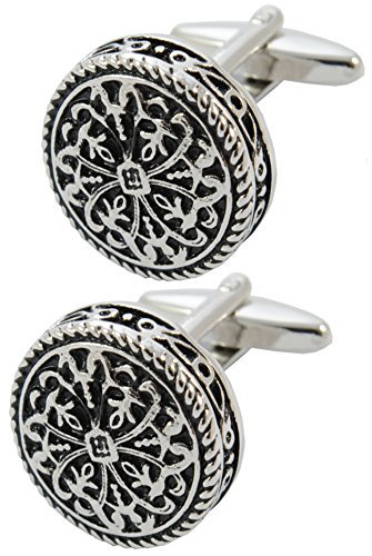 (COLLAR AND CUFFS LONDON - Premium Cufflinks with Gift Box - Antique-Style Celtic Design - Brass - Round Cross Design - 20mm Diameter - Silver and Black Colors)