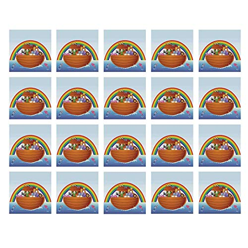 YOLIYANA Noahs Ark Waterproof Ceramic Tile Stickers,Noah Ark and Colorful Sky Every Kind of Creature Sailing Artful Design Print for Kitchen Living Room,One -