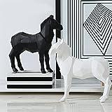Bwlzsp Modern simple geometric origami animal pendant resin horse handicraft ornament furnishings LU713940 (Size : White)