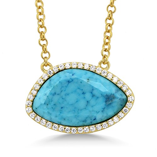 Gem Stone King 6.60 cttw Sterling Silver Yellow Gold Plated Simulated Turquoise & White CZ Women's Pendant Necklace with 18 inch Chain