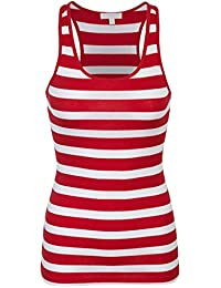 Womens Cotton Stripe Ribbed Racerback Tank Top