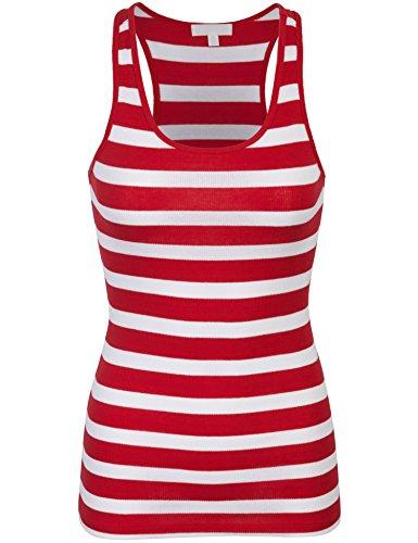 BOHENY Womens Cotton Stripe Ribbed Racerback Tank - Racerback Striped Tank Red