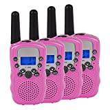 Upgrow Kids Walkie Talkies 22 Channel Long Range Max 3000M 2-Way Radios Built in Led Flashlight LCD Display Suit for Teens Adults Indoor Outdoor Campaign (4 Pack Pink)