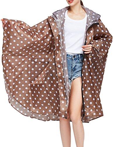 Buauty Women's Khaki Lightweight Rain Coats with Zip Poncho Waterproof Packable Hood