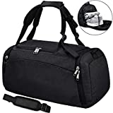 NEWHEY Sports Gym Duffel Bag with Shoe Compartment Waterproof Travel Holdall Large Sport Duffle Bag for Men 40 L Black