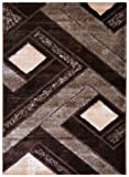 RugStylesOnline Royal Collection Brown Beige Contemporary Design Shaggy Area Rug (6018) (4'x5'5″)