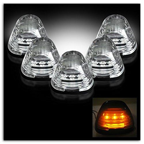 07 Ford F150 Super Cab - Razer Auto 99-15 Ford Super Duty F250+F350+F450 5pcs Cab Roof AMBER LED Lights CLEAR Lens, 5pcs Set LED Lights, Clear LENS & Black Base & Amber LED