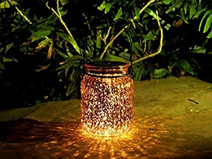 Voona 2 Pack Solar Bronze Mercury Glass Jar Outdoor Lights For Hanging And  Ground Use