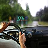 Heads Up Display,DODORO 3.5 inch A2 GPS Car HUD Bulit-in GPS Module Measure Driving Speeding Warning Projector Powered by Cigarette Lighter Compatible with all Cars