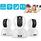 SANNCE 3PCS Dome Camera Pan/Tilt/Zoom Wireless IP Indoor Security Surveillance System 1080p HD Night Vision, Remote Monitor with iOS, Android App - SD Card Not Included
