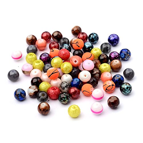 Kissitty 200-Piece Mixed Style Painted Marble Design Glass Round Beads 8mm with 1.5mm Hole for DIY Jewelry Craft Making