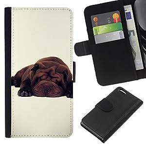 Planetar® Modelo colorido cuero carpeta tirón caso cubierta piel Holster Funda protección Para Apple iPhone 5C ( Lindo perro de raza blanca Sleepy Cansado )