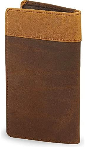 Silvercreek Mens Fenced In Leather Checkbook Cover Aged Bark One Size