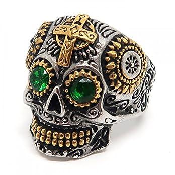 BOBIJOO JEWELRY – Ring Siegelring Mann Totenkopf Biker Maya-Goldenen Kreuz-Stahl-Gold-Silber-Grün