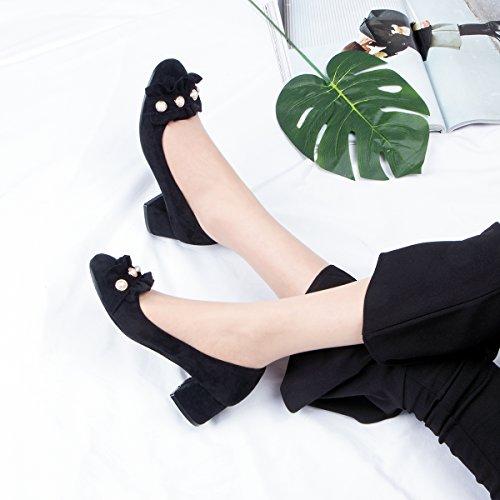Solo De Four Zapatos Pearl GAOLIM Estudiantes En Mujer Áspera Luz Con Femeninos Con Zapatos La Zapatos Seasons Salvaje Negro Primavera TwwAROdq