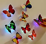 Napoo 10 Pcs Butterfly LED Lights 3D Wall Stickers For House Decoration Bedroom