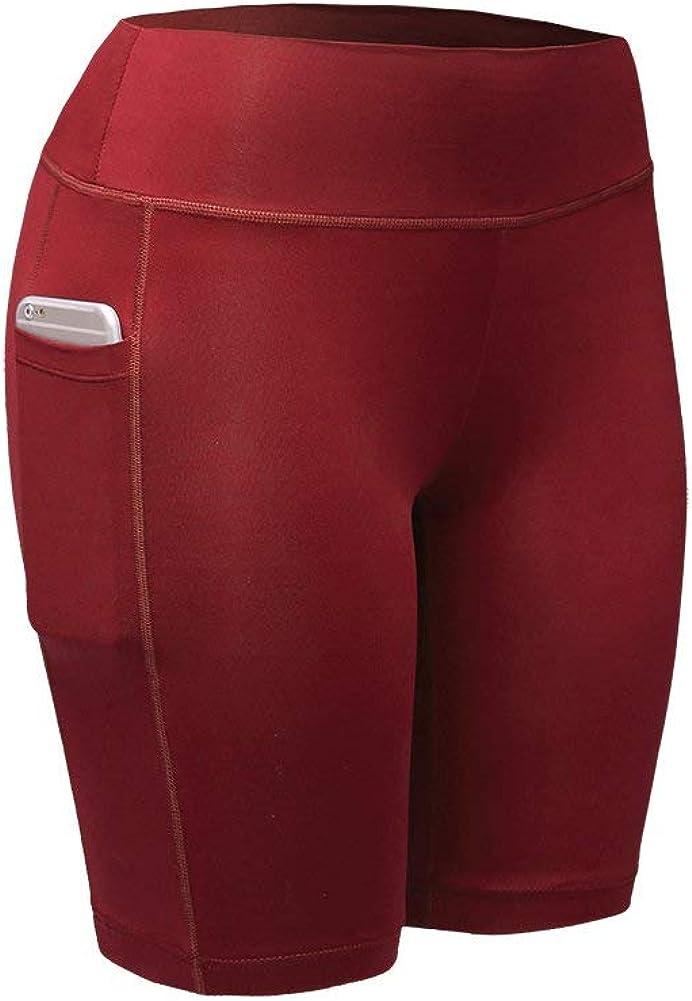 Blaward Women Breathable Quick-Dry Yoga Sports Shorts Fitness Running Pants Summer Slim Elastic Pants with Pocket
