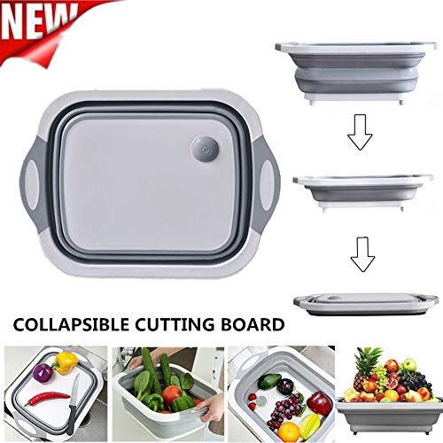QBABY Multifunction Collapsible Cutting Board Dish Tub,Drain Basket Vegetable Basin,3 in 1 Sink Folding Cutting Board for Kitchen Outdoor Travel Camping