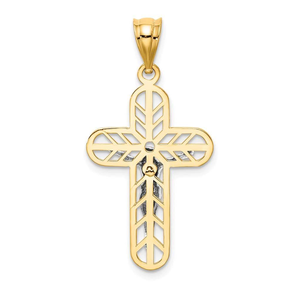 14k Two-tone Gold Polished Crucifix Pendant
