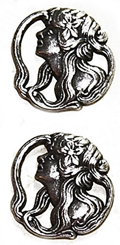 "Fancy & Decorative {22mm w/ 1 Back Hole} 2 Pack of Large Size Round ""Popper Shank"" Sewing & Craft Buttons Made of Genuine Metal w/ Antique Old Metallic Elegant Lady & Hibiscus Design {Silver & Black}"