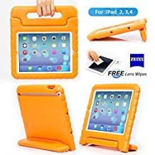 iPad 2, iPad 3, iPad 4 Case– Kids Light Weight Kido Series Multi Function Convertible Handle Kickstand Kids Friendly Protective Shockproof Cover Case with Stand & Handle for Apple iPad 2/3/4 (Orange)