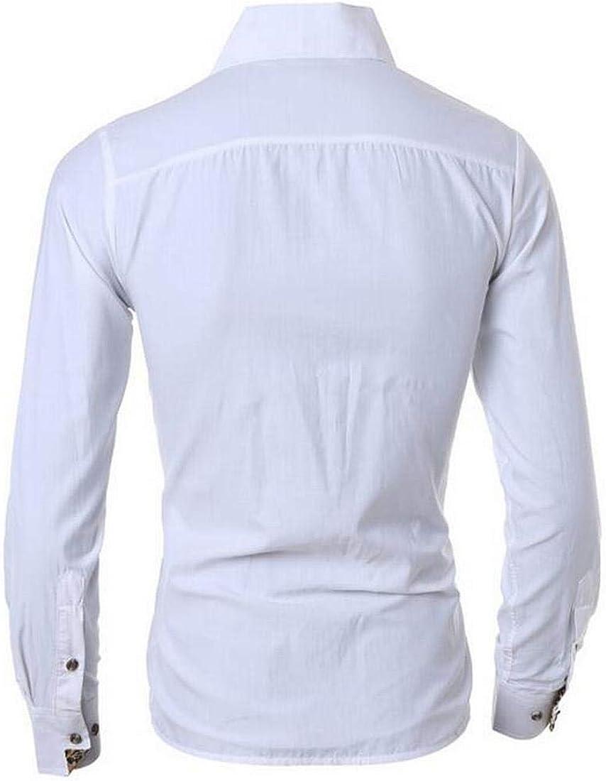 XTX Mens Casual Leopard Stitching Pocket Button Down Top Shirts