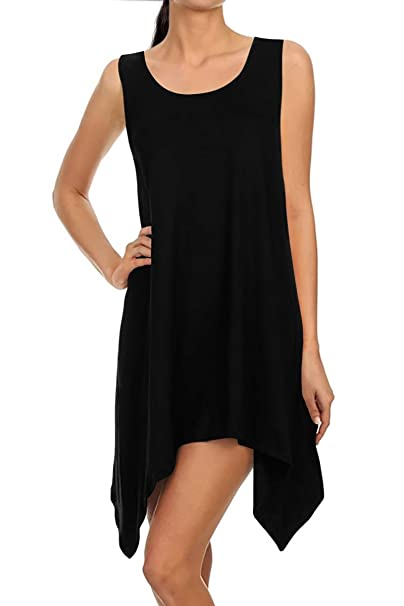 acc19cb3861 Long Tunics for Women Sleeveless Tunic Tops Handkerchief Hem Loose Tank  Tunic Dress