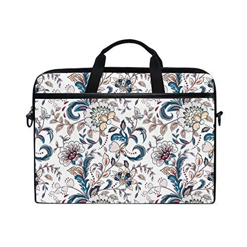 (PENGTU 15-15.4 Inch Laptop Bag Vintage Flowers Seamless Background Provence Style Shoulder Messenger Bags Sleeve Case Tablet Briefcase with Handle Strap)