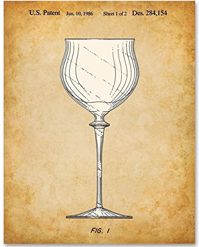 Wine Glass Patent - 11x14 Unframed Patent Print - Great Gift for Wine Lovers, Grottos, Wine Cellars and Home Bar Decor ()