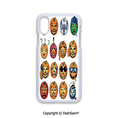 Plastic Rigid Mobile Phone case Compatible with iPhone X Black Edge Carved Pumpkin with Emoji Faces Halloween Humor Hipster Monsters Art 2D Print Hard Plastic Phone Case]()