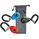 Asien Dog Clicker with Wrist Strap(3 Color New + 1 Dog Treat Bag) - Pet Clicker Training Set Train Dog, Cat