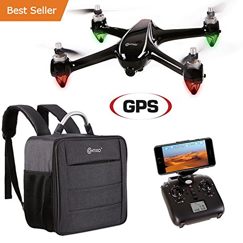 Holiday Special! Contixo F18 Advanced GPS Assisted RC Quadcopter 1080P HD Live FPV Wifi Video Camera Drone Smart RTH Hovering Brushless Motors (Carrying Back Pack- $50 Value) Best Gift For Christmas