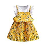 Subfamily, Girls Dresses Toddler Kids Baby Girls Outfit Clothes Floral Print Pageant Party Princess Dress Summer Daily Skirt (4T, Yellow)