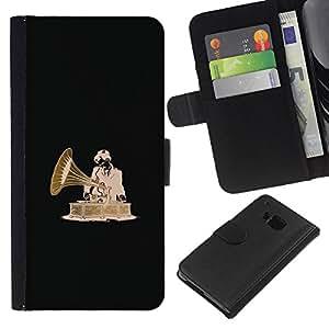 LECELL--Cuero de la tarjeta la carpeta del tirón Smartphone Slots Protección Holder For HTC One M7 -- DJ Vintage --