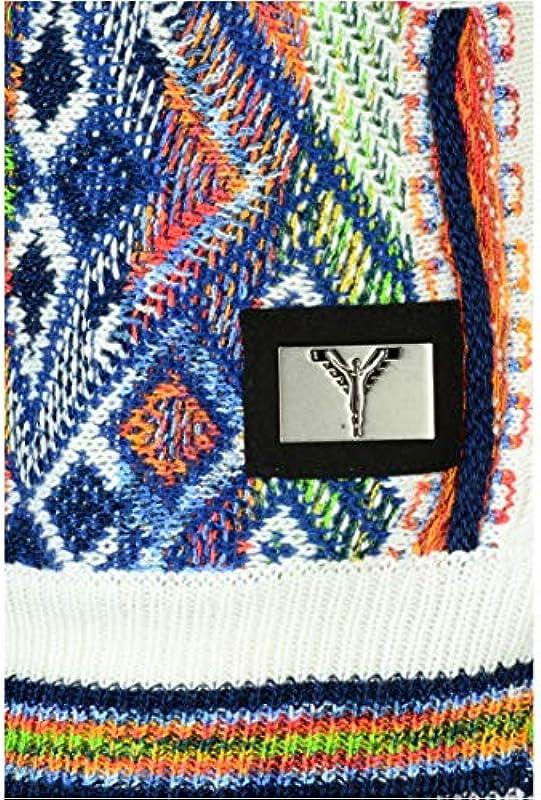 Carlo Colucci klasyczny kolorowy sweter Carlo z okrągłym dekoltem, biały - 3xl: Odzież