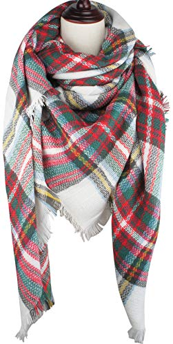 VIVIAN & VINCENT Women's Plaid Blanket Winter Scarf Oversized Shawl Cape Christmas Red Green ()