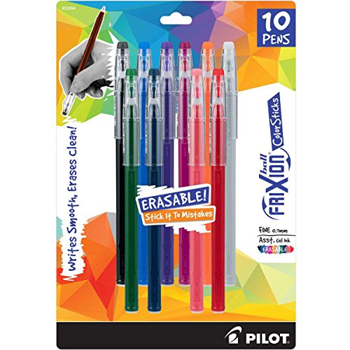 - PILOT FriXion Color Sticks Erasable Gel Pens 10-pack of Assorted Colors (32454) Black, Gray, Hunter Green, Blue, Purple, Magenta, Salmon Pink, Red, Orange, Navy, Erase Mistakes without White Out
