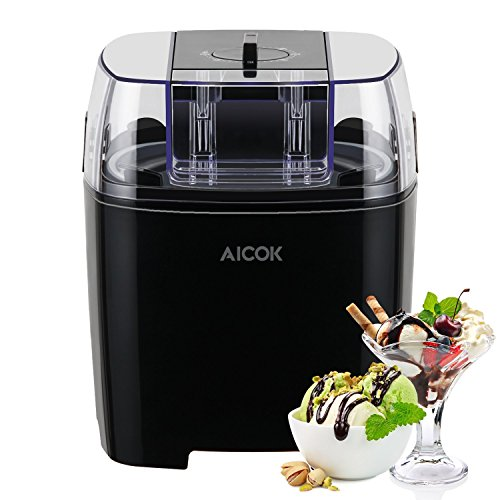 Aicok Ice Cream Maker Frozen Yogurt and Sorbet Machine with Timer Function and Instruction Book, 1.5L, Black