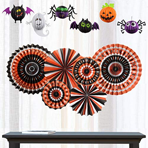Halloween Party Supplies, 12 pcs Party Favor Decorations White Black Orange Paper Fans and Pumpkin Spider Bat Ghost Paper Balls Halloween Elements for Theme -