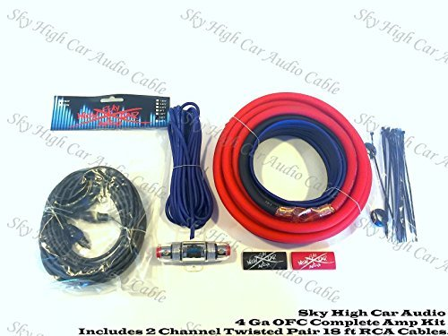 Oversized 4 Ga CCA AWG Amp Kit Twisted RCA Red Black Complete Sky High by Sky High Car Audio