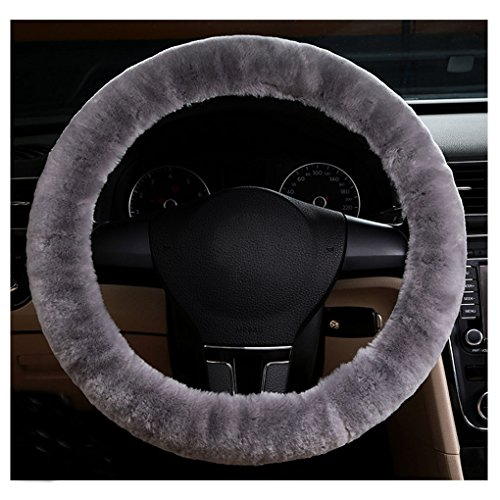 Clobeau Premium Soft Cashmere Vehicle Steering Wheel Cover Stretchy Plush Winter Warm Non-slip Protector Guard Trunk Car Accessories