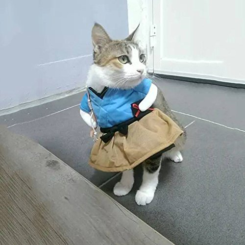 Zehui Funny Cat Dog Costume Uniform Suit Clothes Puppy Dressing Up Suit Party Cosplay Clothes S -